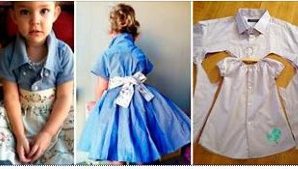 Daj drugie życie starej koszuli męża przerabiając ją na uroczą sukienkę dla...
