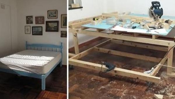 Pokój był tak mały, że chłopak postanowił przebudować go... Efekt jest...