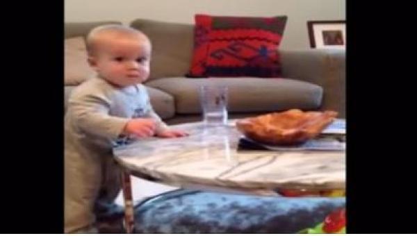 Mama zabrania niemowlakowi dotykać szklanki z wodą, jego reakcja jest...