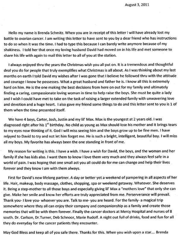 List od Brendy do stacji radiowej