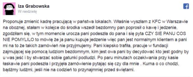Do opisywanej sytuacji doszło w jednym z lokalów KFC przy ul. Oboźnej w...