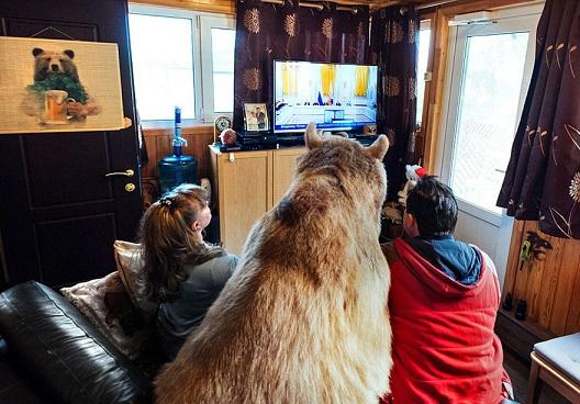 Wyobrażacie sobie wspólne leniuchowanie na sofie z niedźwiedziem? Stepan nie...
