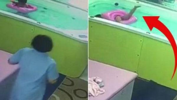 Rodzice na chwilę zostawili dziecko w baseniku - wtedy kamera uchwyciła coś...
