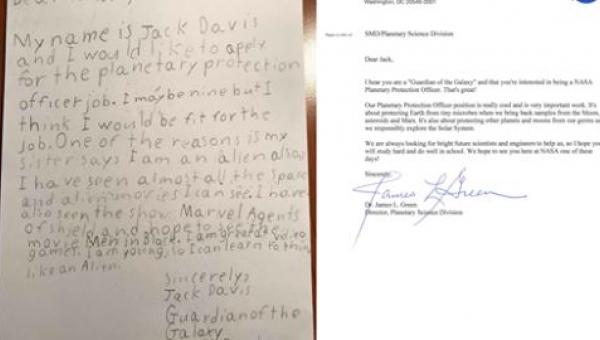 List 9-latka do NASA zdobył serca internautów. Najlepsze, że Agencja...
