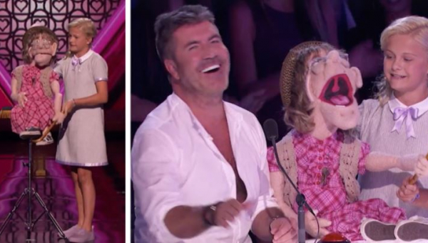 12-latka wychodzi na scenę z marionetką, kiedy ta zaczyna podrywać jednego z...