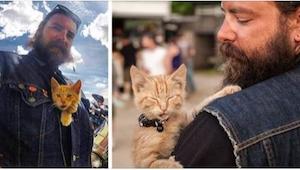 Motocyklista uratował ciężko poparzonego kotka i zabrał go w podróż!