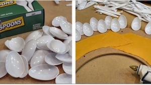 Możesz zrobić piękną ozdobę wykorzystując... plastikowe łyżeczki i tekturę!