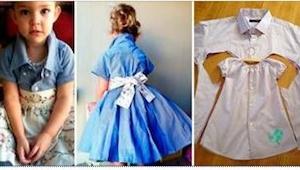 Daj drugie życie starej koszuli męża przerabiając ją na uroczą sukienkę dla córe