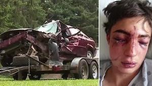 Na jej podjeździe parkuje roztrzaskany w wypadku samochód. Powód dla którego tam