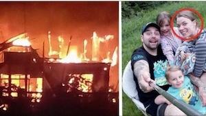Podczas gdy dwójka jej dzieci płacze za nią, 29-latka zamyka się w palącym się d