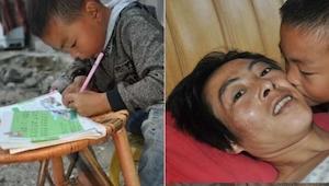 Matka opuściła go, gdy był malutki. Teraz ma 7 lat i opiekuje się swoim sparaliż