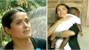 Salma Hayek wzięła na ręce głodne dziecko z Afryki. To, co zrobiła, wprawiło wsz