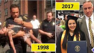 Policjant, który uratował jej życie 19 lat wcześniej, przyszedł zobaczyć jak dzi