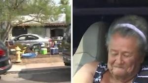 Starsza pani mieszka w samochodzie przed własnym domem, kiedy sąsiad poznał powó