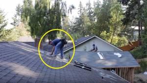 Dekarze spokojnie pracują na dachu, gdy w końcu ktoś włącza muzykę. Reakcja mężc