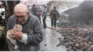 83-latek mocna ściska jedną z najbliższych mu istot po tym, jak jego dom spłonął