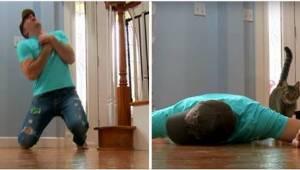 Udał, że ma atak serca, żeby sprawdzić reakcję swojego kota. Mina mężczyzny pod