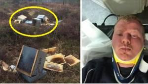 Pszczelarz miał złe przeczucie i w nocy pojechał sprawdzić, czy z jego pszczołam