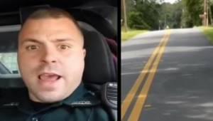"""Policjant jest sfrustrowany, jadąc za powolnym """"dziadkiem"""", a potem odwraca kame"""