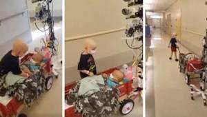 Poruszające nagranie na którym chory na raka chłopczyk pomaga swojemu przyjaciel