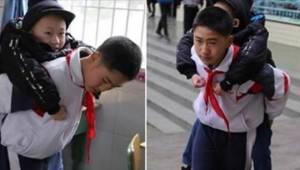 Dwunastoletni chłopiec od sześciu lat codziennie nosi niepełnosprawnego przyjaci