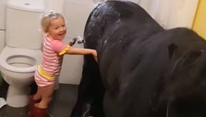 Mała dziewczynka postanawia zaprowadzić kucyka do łazienki by umyć go pod pryszn